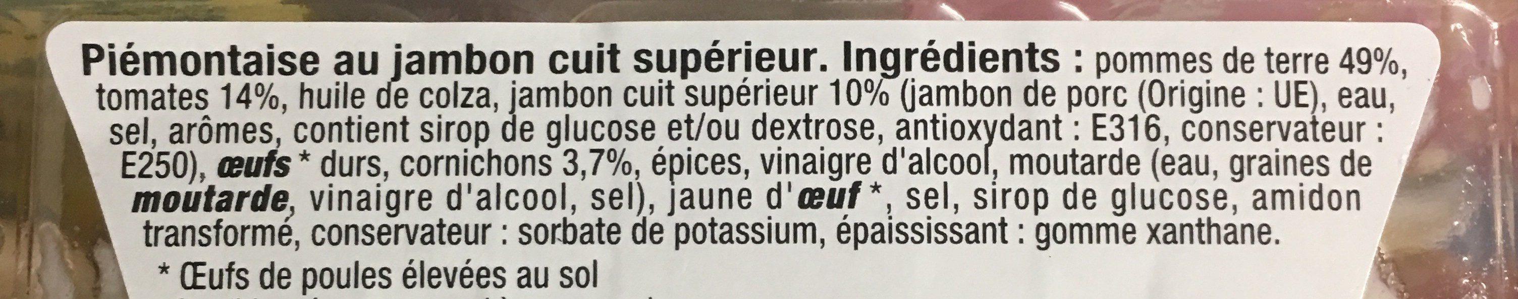 Piémontaise aux tomates fraîches et au jambon - Ingrédients - fr
