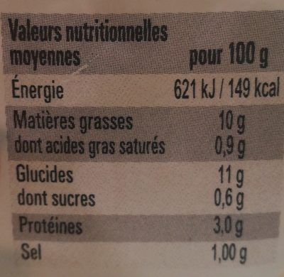 Piémontaise aux tomates fraîches et au jambon - Informations nutritionnelles - fr