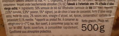 Taboulé oriental - Ingrediënten - fr