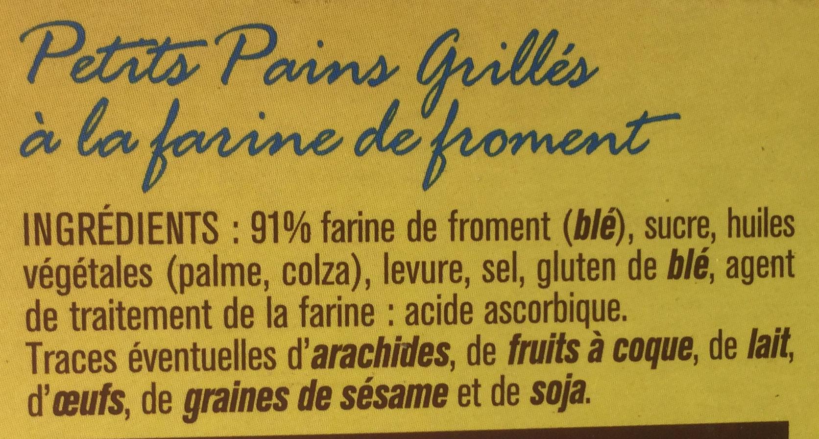 Petits pains grillés froment - Ingrediënten