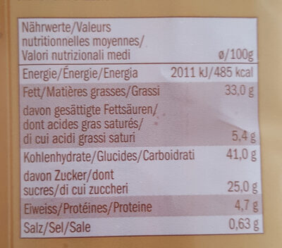 Gateau au chocolat - Nutrition facts - fr
