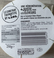 Camembert (21 % MG) - Informations nutritionnelles - fr