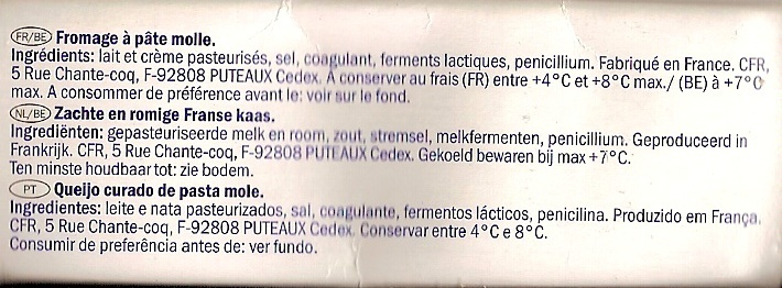 Fromage Doux et Crémeux (31 % MG) - Ingrediënten - fr