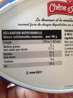 Fromage Doux et Crémeux (31 % MG) - Voedingswaarden - fr