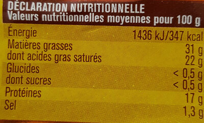 Pointe de brie - Informació nutricional