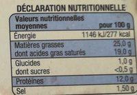 Saint-Félicien - Informations nutritionnelles
