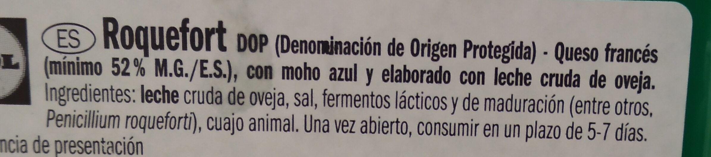 Roquefort (31,7% MG) - Ingrediënten - es