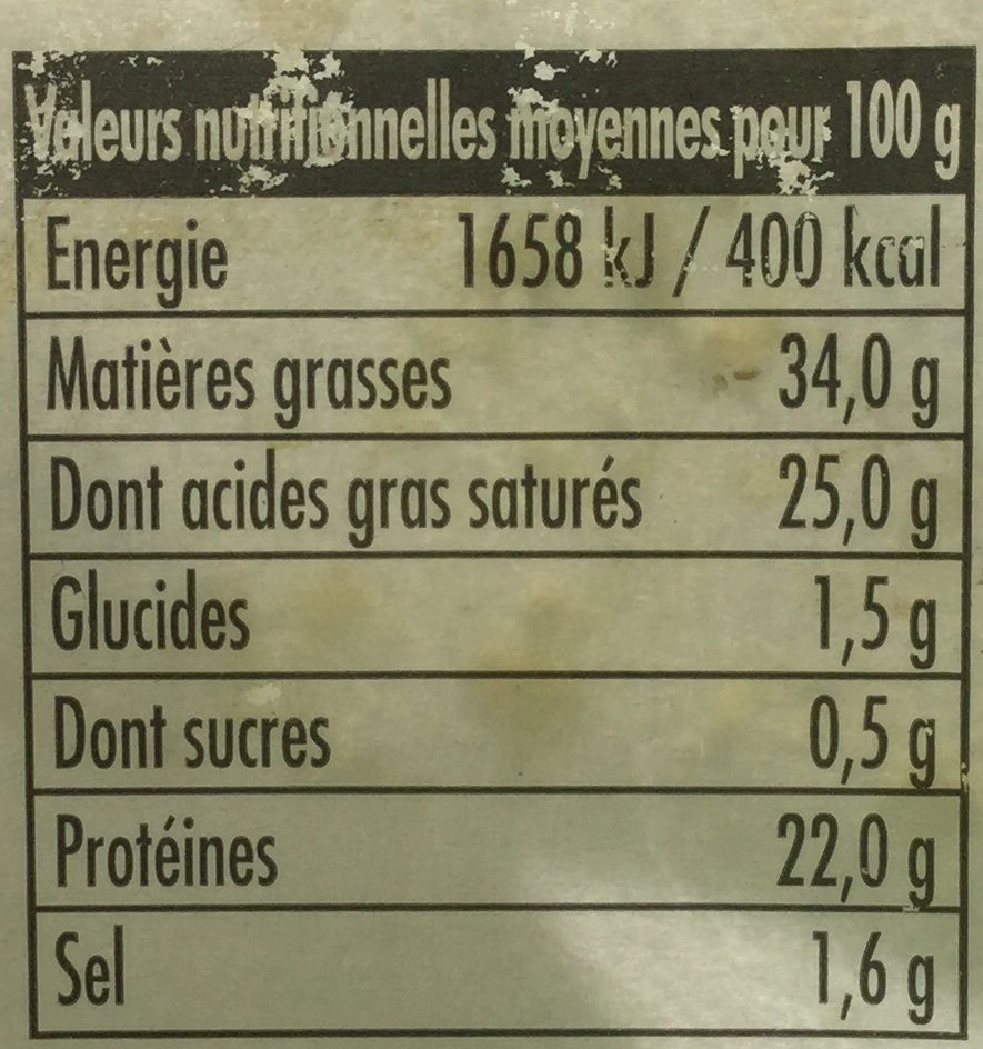 Tomme de brebis - Nutrition facts