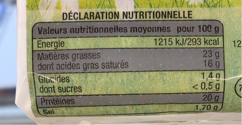 Bûche de chèvre - Informations nutritionnelles - fr