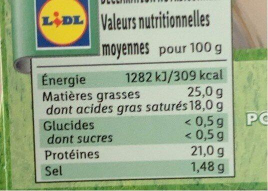 Crottin de chevre - Informations nutritionnelles - fr