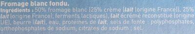 Fromage blanc fondu à la crème20 g - Ingrediënten