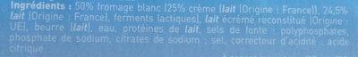 Fromage blanc fondu à la crème - Ingrédients