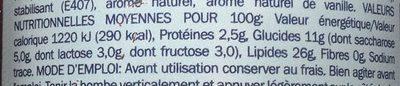 Nata montada - Informations nutritionnelles - fr