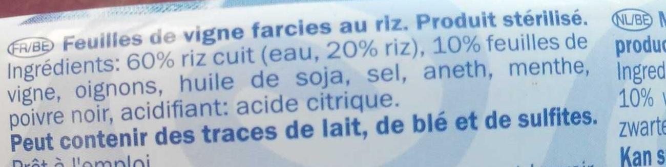 Feuille de vigne - Ingrédients - fr