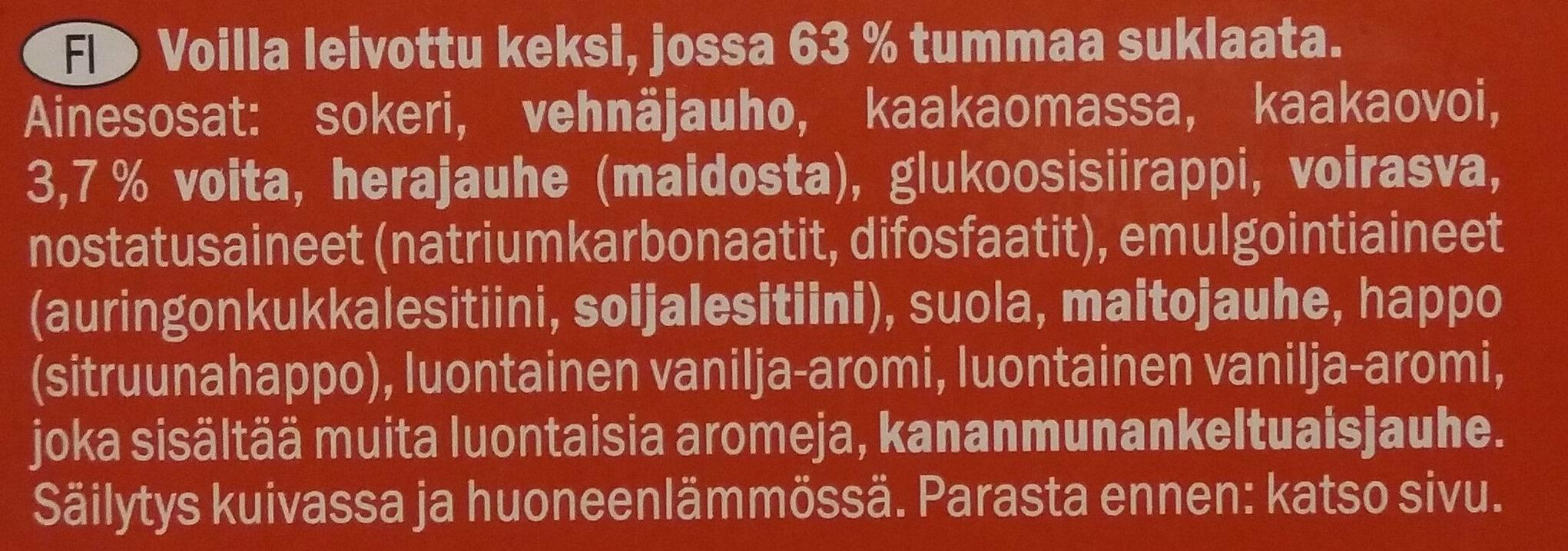 Biscino Dark Chocolate - Ainesosat - fi