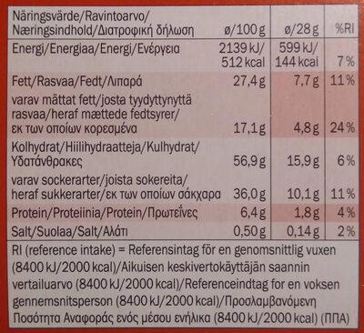 Biscino Dark Chocolate - Voedingswaarden - fi