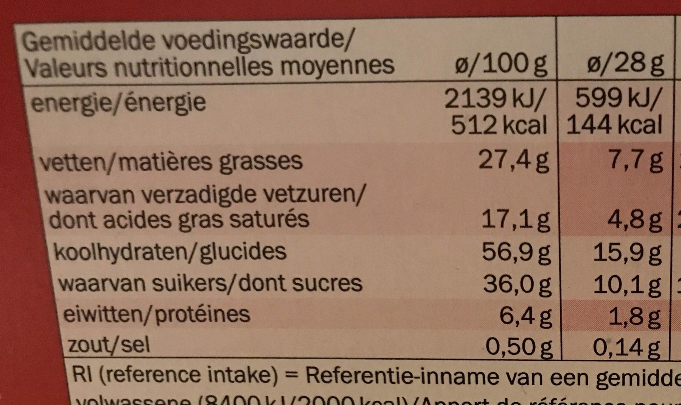 Biscino chocolat noir - Voedingswaarden