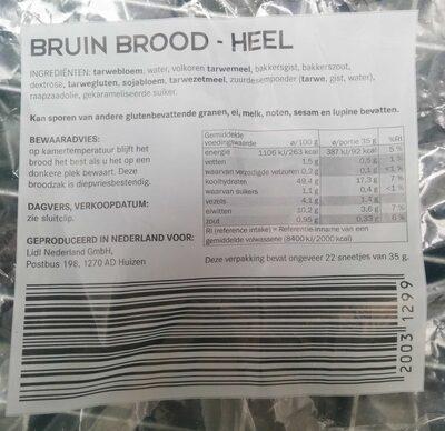 Bruin brood - heel - Voedingswaarden - en