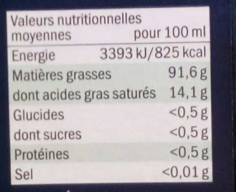 Olio extra vergine di oliva 100 % Italiano - Voedingswaarden - fr