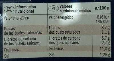 Calamares en trozos en salsa americana - Informació nutricional