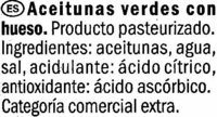 """Aceitunas verdes enteras """"Baresa"""" Variedad Manzanilla - Ingrédients - es"""