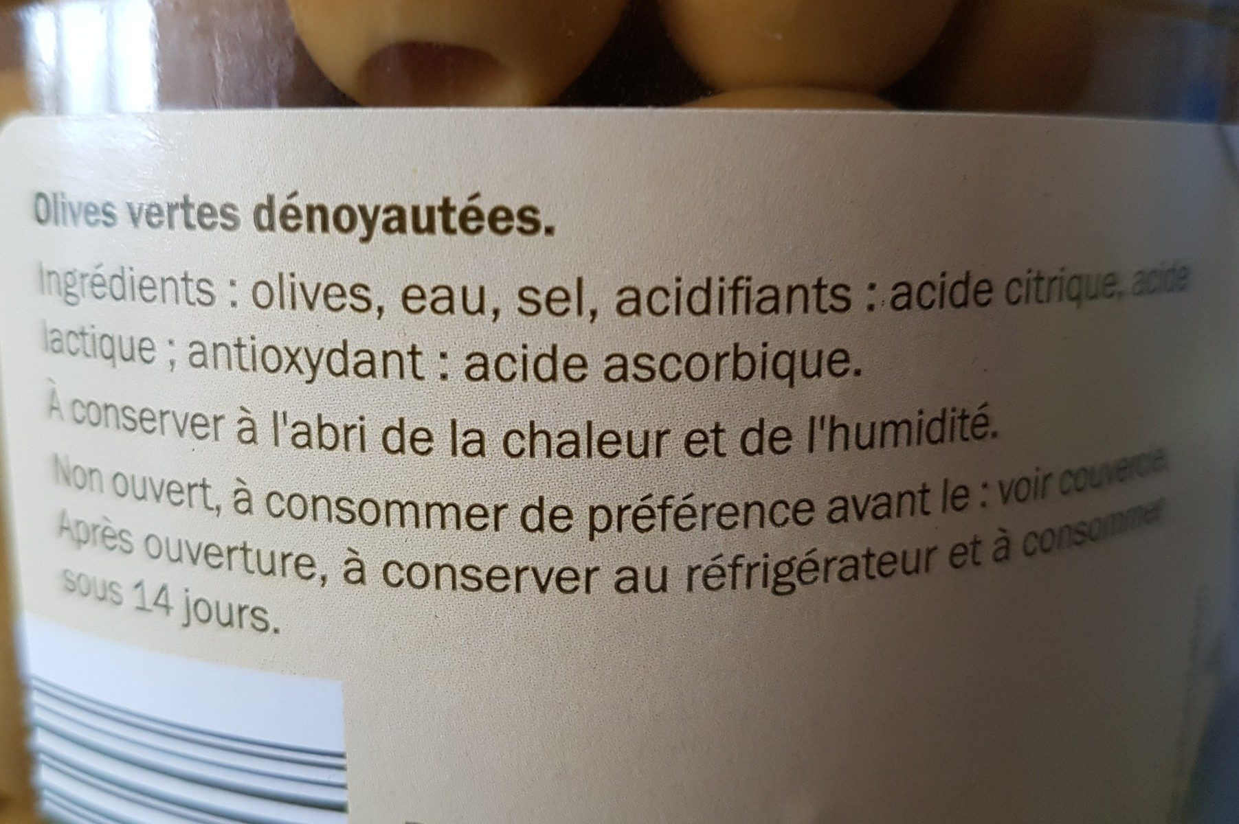 Olives vertes dénoyautées - Ingredients