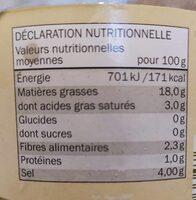 Olives vertes - Nutrition facts - fr