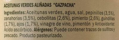 Aceitunas verdes partidas aliñadas a la gazpachaBaresa - Ingredients