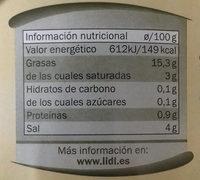 Aceitunas verdes partidas aliñadas a la gazpachaBaresa - Informació nutricional