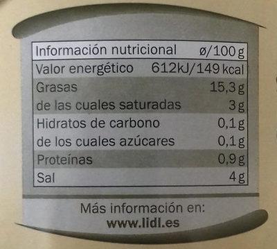 Aceitunas verdes partidas aliñadas a la gazpachaBaresa - Información nutricional