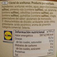 Aceitunas Gazpacha - Nutrition facts - es