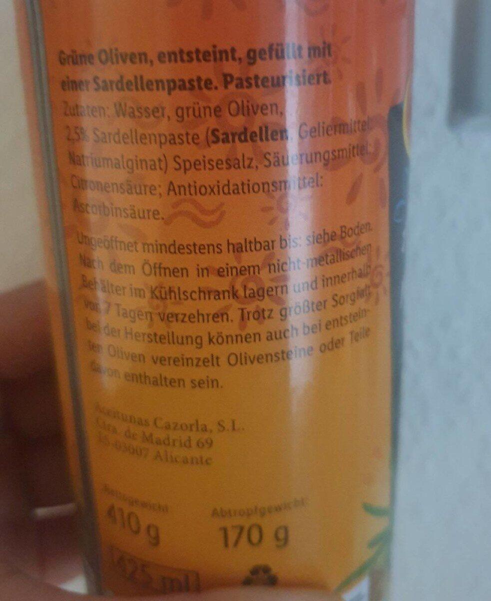 Olives aux anchois - Nährwertangaben - de