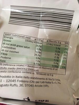 Fior Di Grano - Informations nutritionnelles