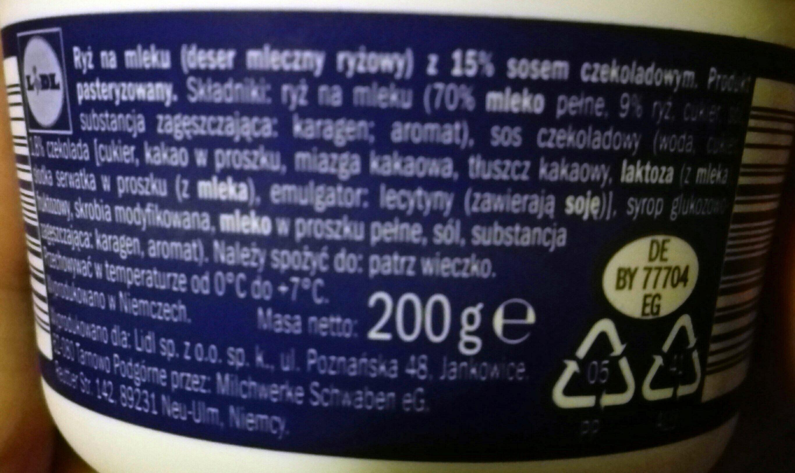 Ryż na mleku z 15% sosem czekoladowym. - Składniki - pl