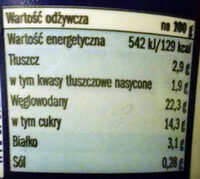 Ryż na mleku z 15% sosem czekoladowym. - Wartości odżywcze - pl