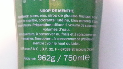 Sirop de Menthe - Ingredients