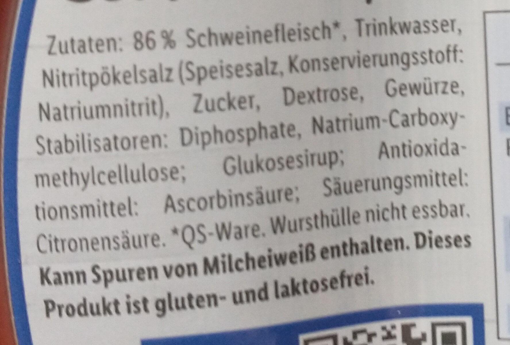 Schinkenfleischwurst - Ingredients - de