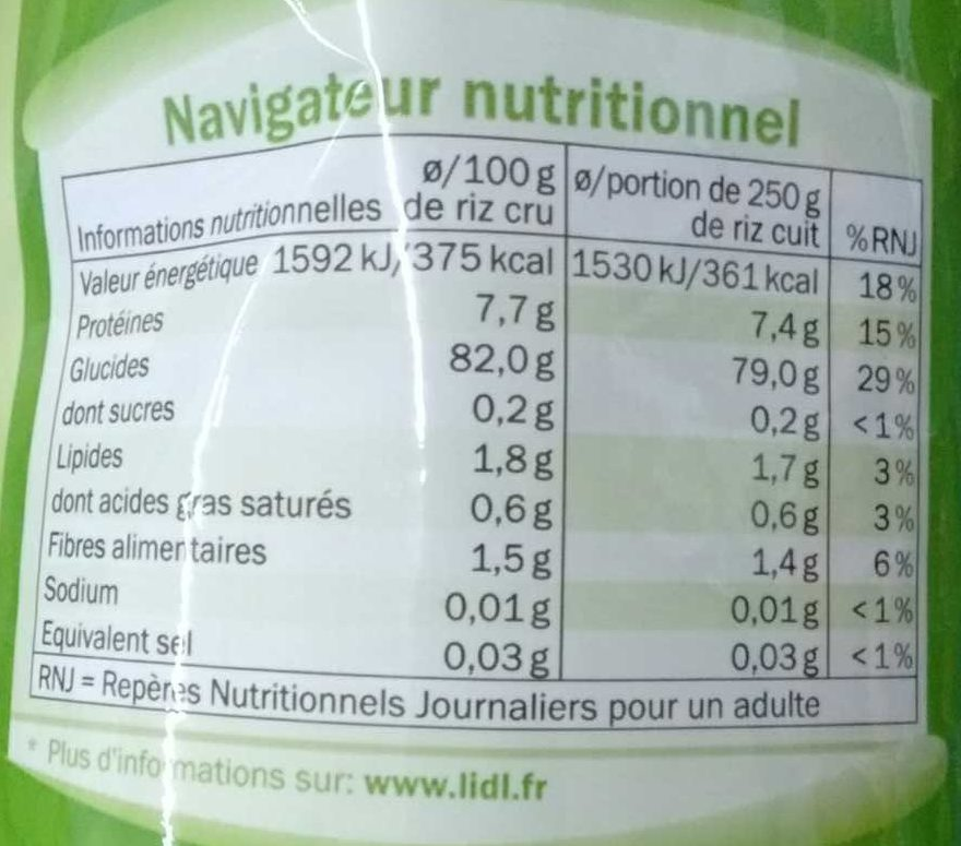 Thai Jasmin (riz long grain) - Informations nutritionnelles