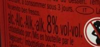 Vino Frizzante amabile - Informations nutritionnelles