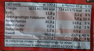 Protein bar - Nutrition facts