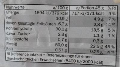 Barre protéines - Nutrition facts