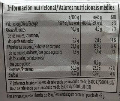 Barre protéines - Voedingswaarden - de