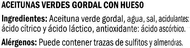 "Aceitunas verdes enteras ""Baresa"" Variedad Gordal - Ingredients"