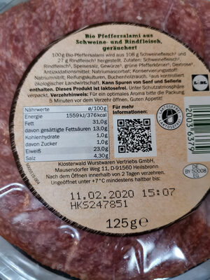 Pfeffersalami - Ingredients