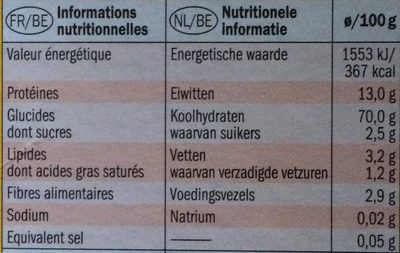 Lasagne - Nutrition facts