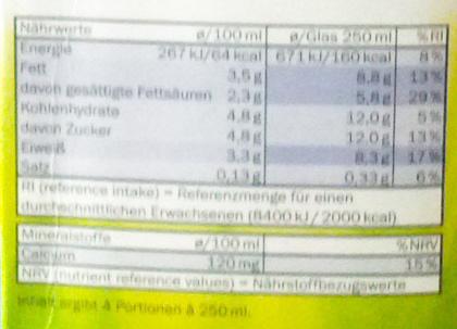 Lait entier (3,5 % MG) - Nährwertangaben