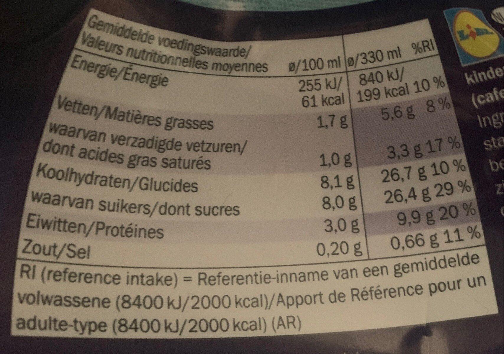 Intenso - Informations nutritionnelles - de