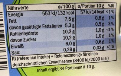 Mleko zagęszczone 7.5% - Informations nutritionnelles