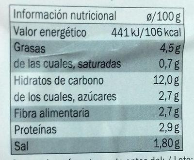 2 Burgers Vegetales Quinoa al Curry - Información nutricional
