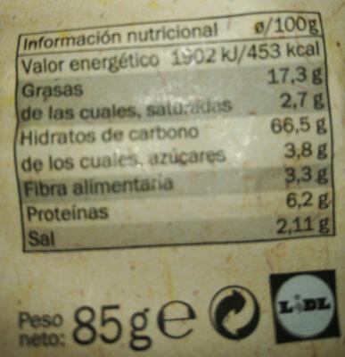 Chips snack day crema fresca y cebolla - Información nutricional